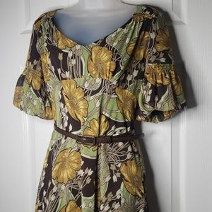 Ann Taylor Loft Dress | Size 2 | Green & Brown